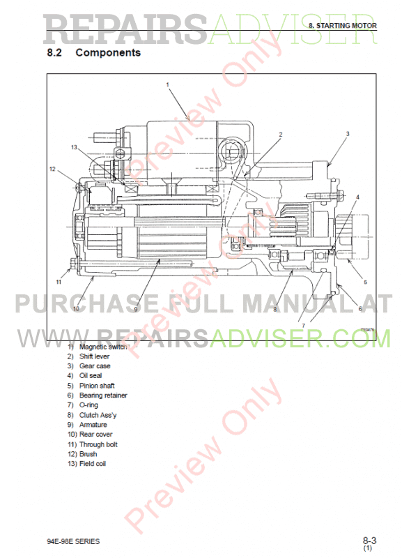 Komatsu Diesel Engine 94E, 98E series Shop Manual Download