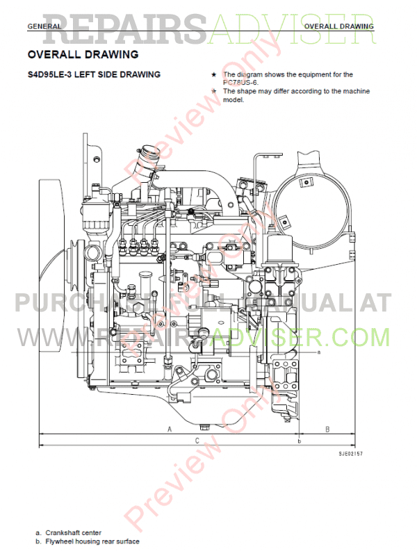 Komatsu Diesel Engine 95-3 series Shop Manual PDF Download