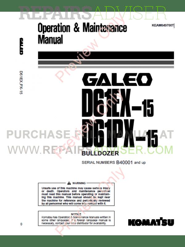 Komatsu Bulldozers Galeo D61EX/PX-15 Maintenance Manuals PDF