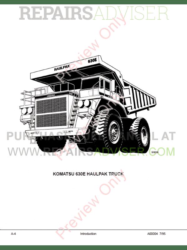 Komatsu Dump Truck 630E Shop and Operation & Maintenance