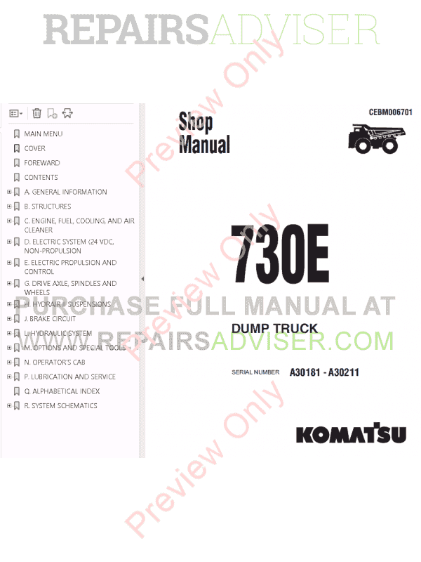 Komatsu Dump Truck 730E Set of PDF Manuals Download