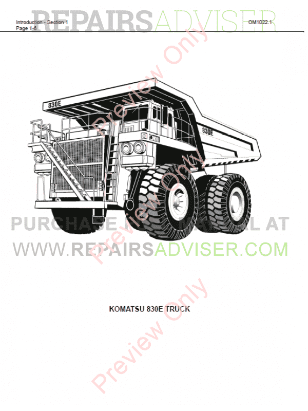 Komatsu Dump Truck 830E Set of PDF Manuals Download