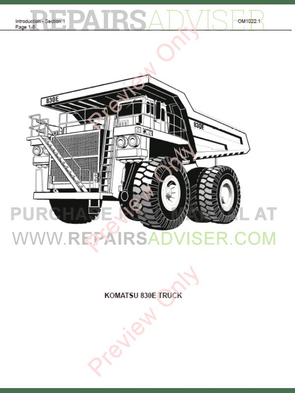 Komatsu Dump Truck 830E Set of PDF Manuals Download