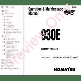 Komatsu Dump Truck 930E-2se Operation & Maintenance Manual