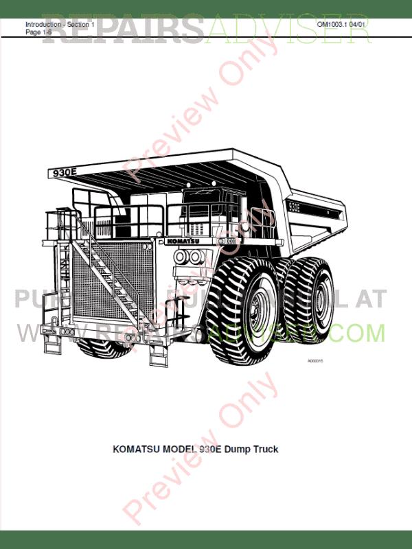 Komatsu Dump Truck 930E Set of PDF Manuals Download