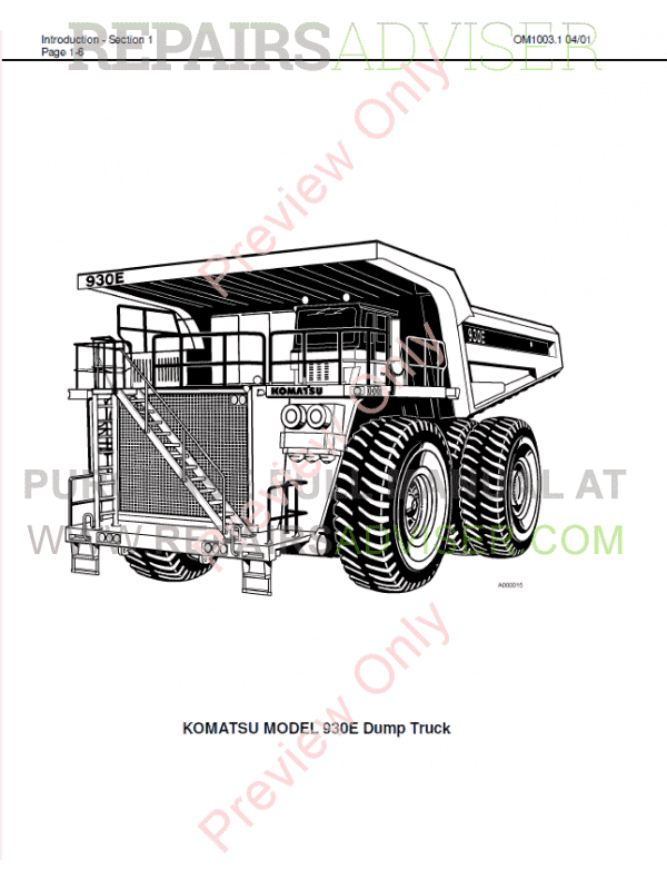 Komatsu Dump Truck 930E Set of PDF Manuals Download