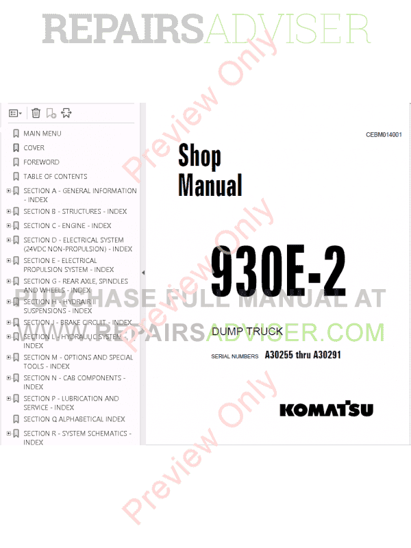 Komatsu Dump Truck 930E-2 Set of PDF Manuals Download