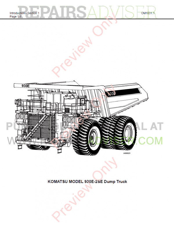 Komatsu Dump Truck 930E-2se Operation & Maintenance Manual