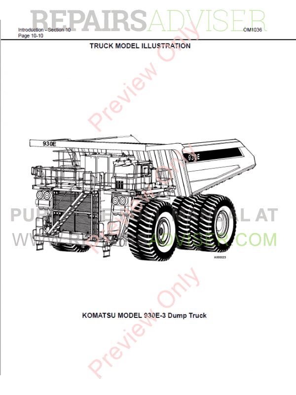 Komatsu Dump Truck 930E-3se Set of PDF Manuals Download
