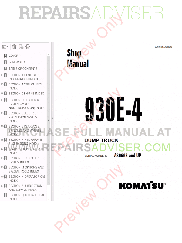Komatsu Dump Truck 930E-4 Set of PDF Manuals Download