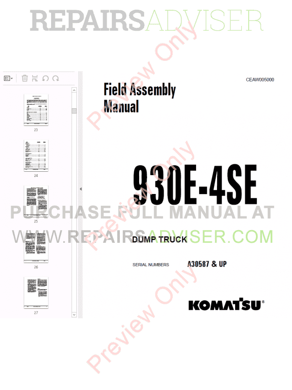 Komatsu Dump Truck 930E-4se Set of PDF Manuals Download