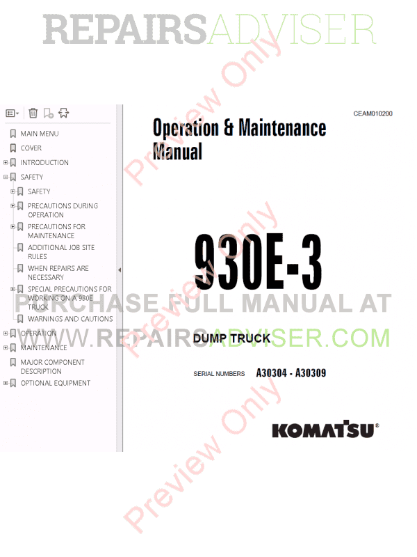 Komatsu Dump Truck 930e-3 Set of PDF Manuals Download
