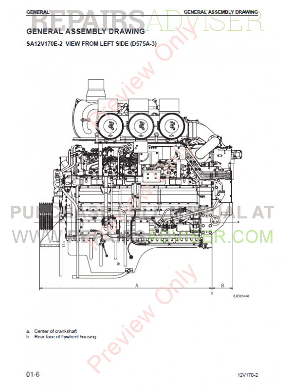 Komatsu Engine 12V170-2 Series Shop Manual PDF Download