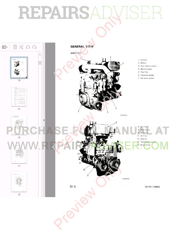 Komatsu Engine 8V170-1 Series Shop Manual PDF Download