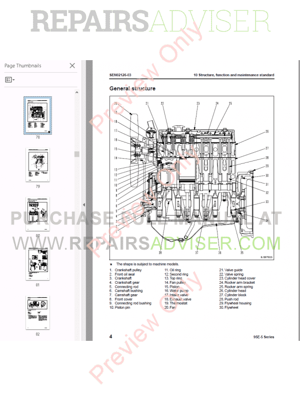 Komatsu Engine 95E-5 series Shop Manual PDF Download