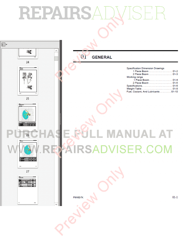 Komatsu Excavator PW160-7K Shop Manual UEBM002500 PDF Download