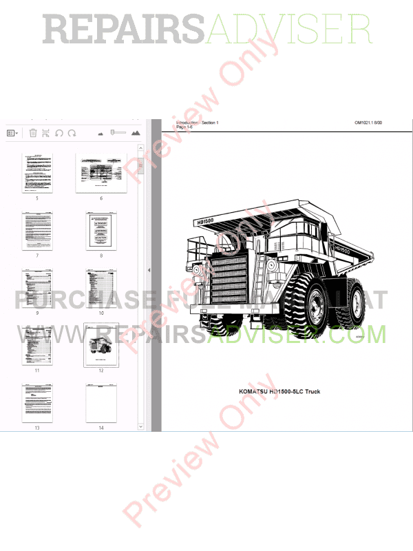 Komatsu HD1500-5 Dump Truck Set of PDF Manuals Download