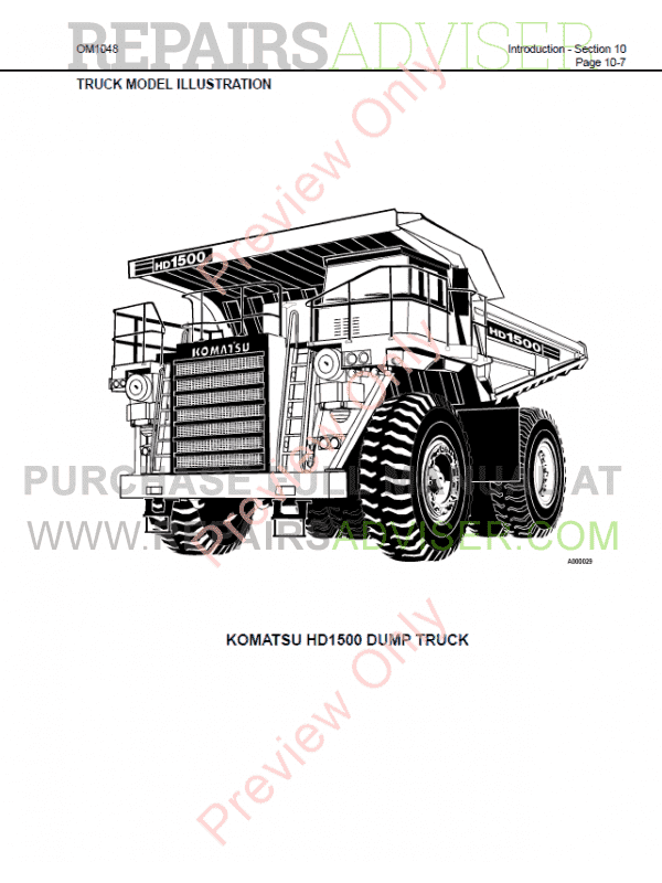 Komatsu HD1500-7 Dump Truck Set of PDF Manuals Download