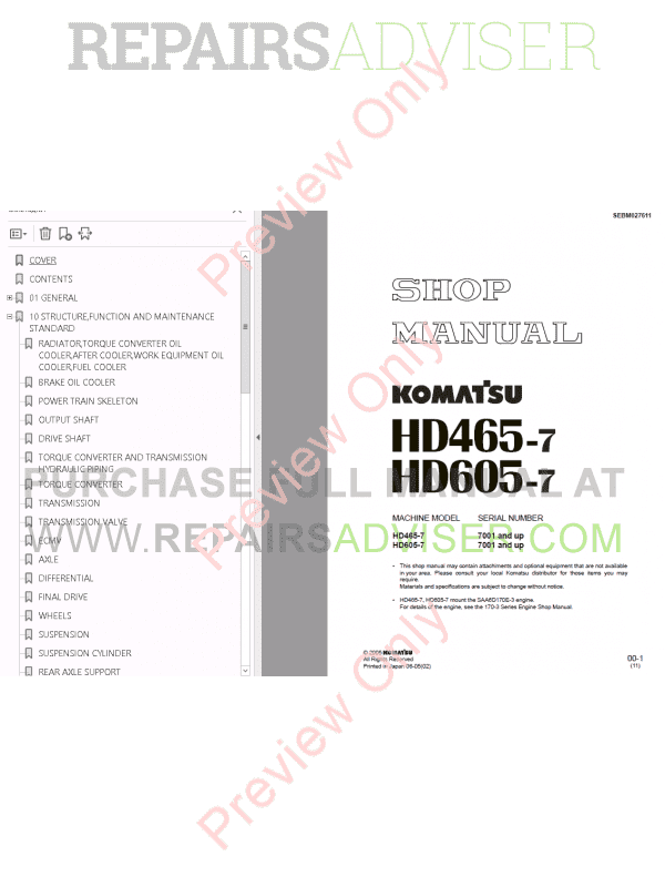 Komatsu HD465-7, HD605-7 Dump Truck Set Manuals PDF Download