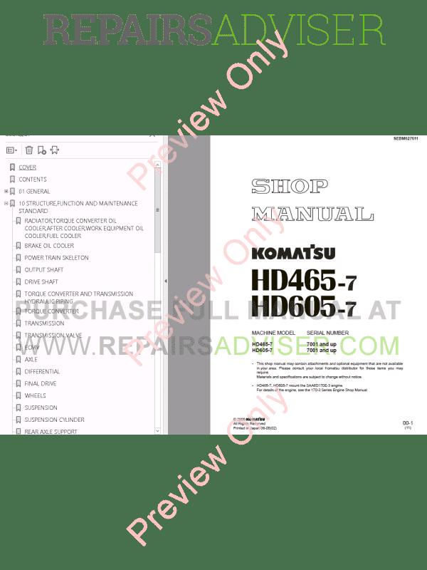 Komatsu HD465-7, HD605-7 Dump Truck Set Manuals PDF Download