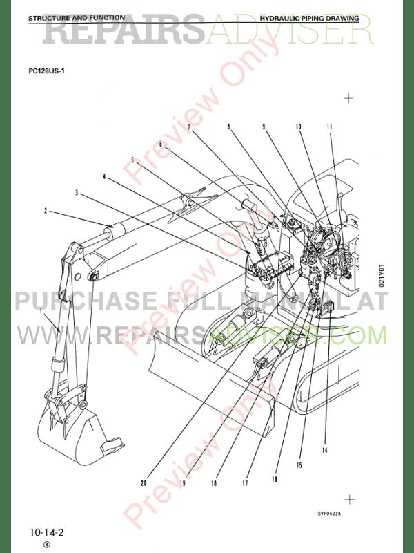Komatsu Hydraulic Excavator PC128US-1 Set of PDF Manual