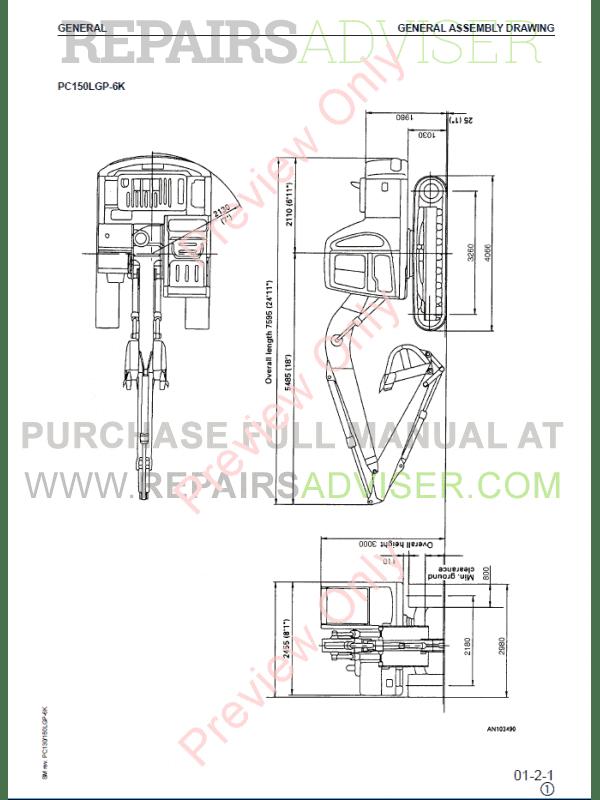 Komatsu Hydraulic Excavator PC130-6K, PC150-LGP-6K Set of