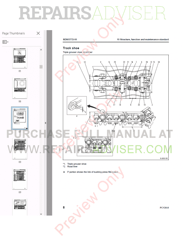 Komatsu Hydraulic Excavator PC130-8 Set of PDF Manuals