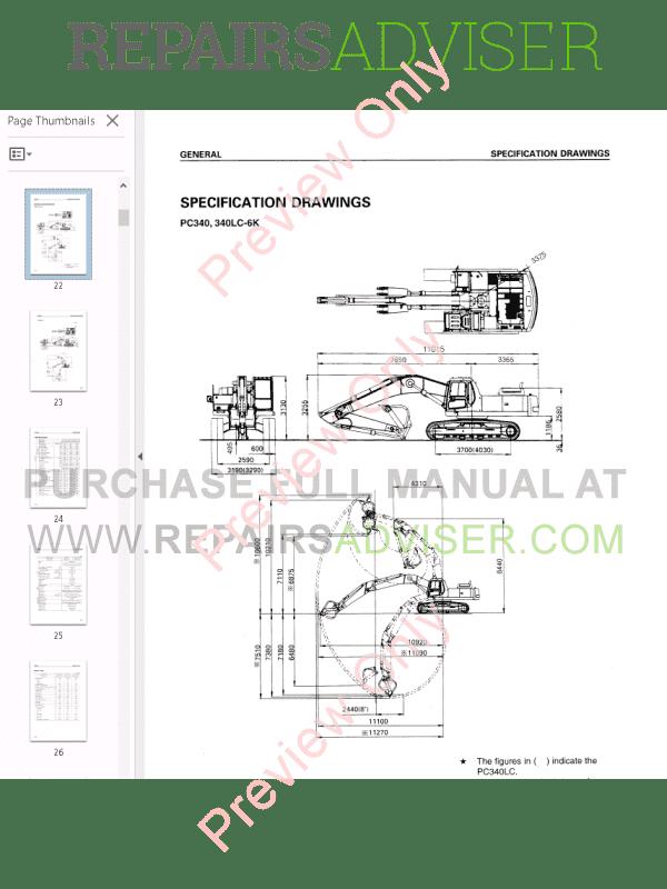 Komatsu Hydraulic Excavator PC340 Shop Manual PDF