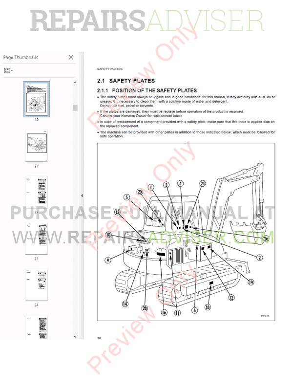 Komatsu Hydraulic Excavator PC95R-2 Set of PDF Manuals
