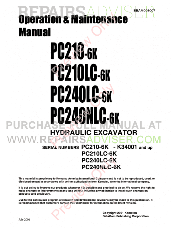 Komatsu Hydraulic Excavators PC200-250-6 Set of PDF Manuals