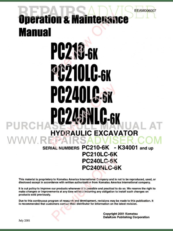 Komatsu Hydraulic Excavators PC200-210-220-230-240-250-6