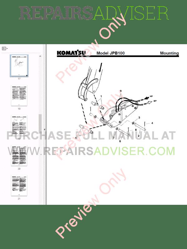 Komatsu Hydraulic breaker JPB100 Operation and Maintenance