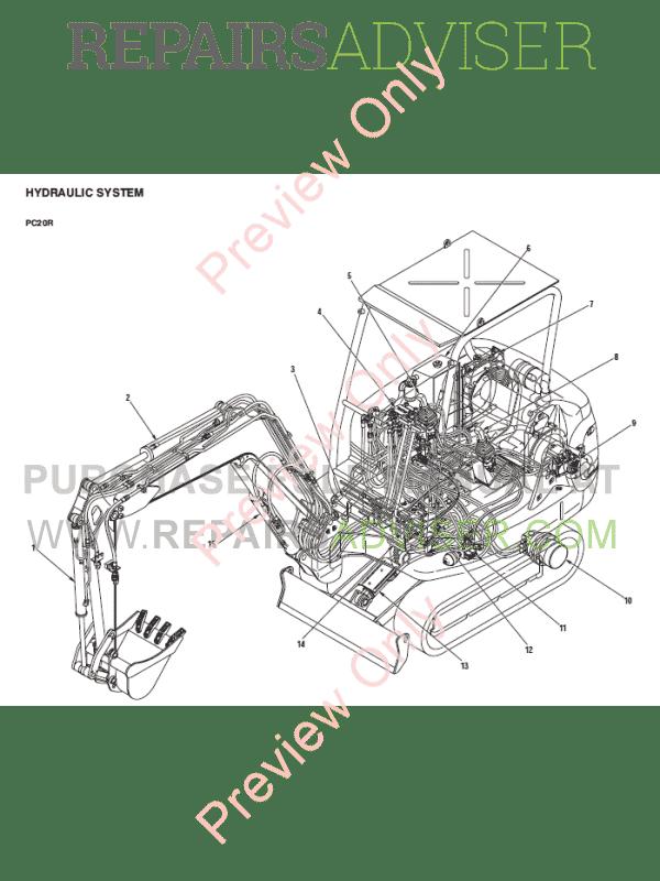Komatsu PC20R-8, PC25R-8, PC27R-8 Hydraulic Excavator Shop