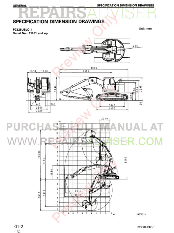 Komatsu PC228US/PC228USLC-1,2,3 Hydraulic Excavators Set