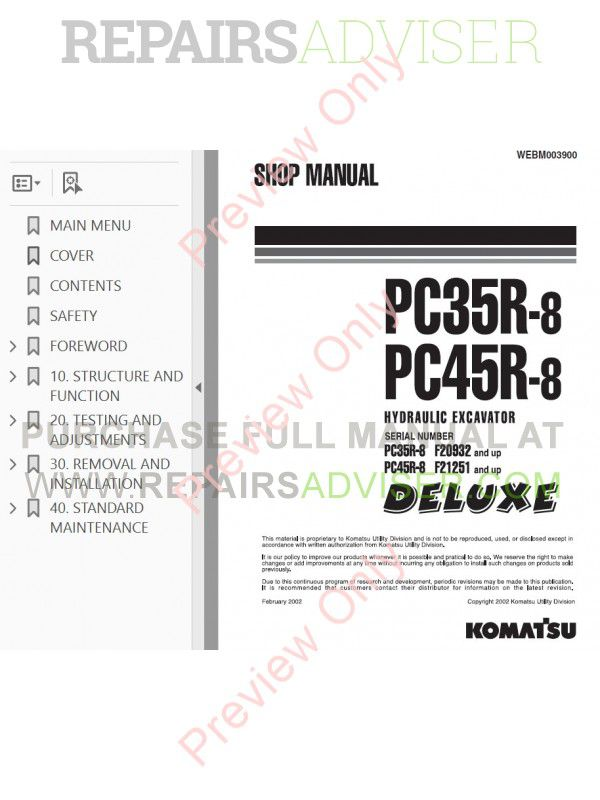 Komatsu PC35R-8, PC45R-8 Hydraulic Excavators Shop Manual