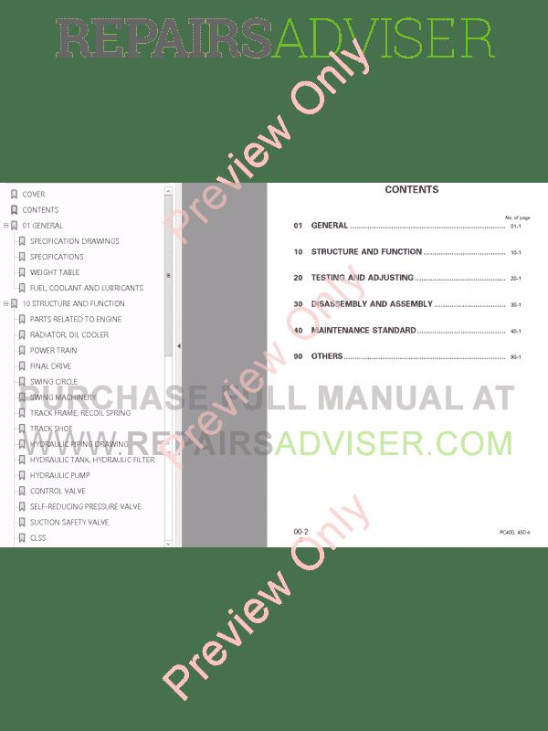 Komatsu PC400-450LC-6 Excavator Shop Manual PDF Download