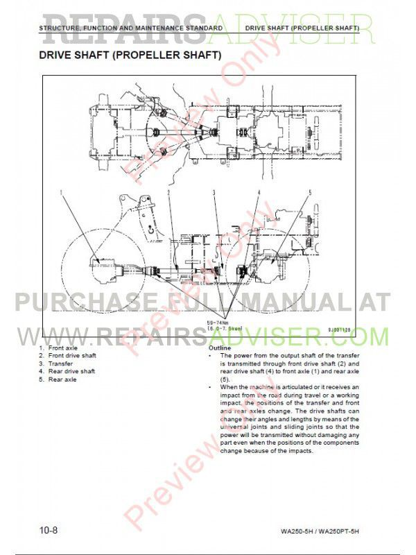 Komatsu WA250-5H, WA250PT-5H Wheel Loaders Shop Manual PDF