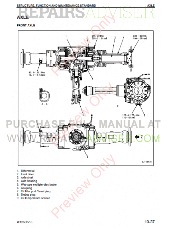 Komatsu WA250PZ-5 Wheel Loader Shop Manual PDF Download