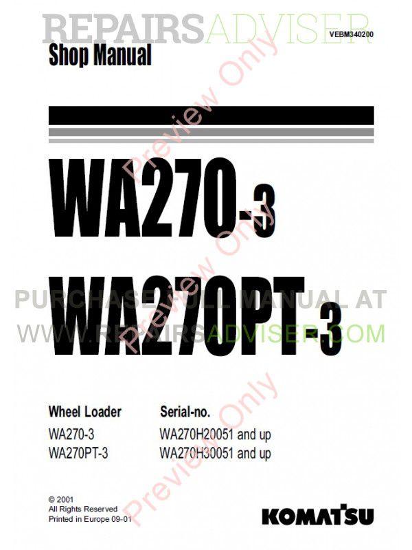 Komatsu WA270-3, WA270PT-3 Wheel Loaders Shop Manual PDF