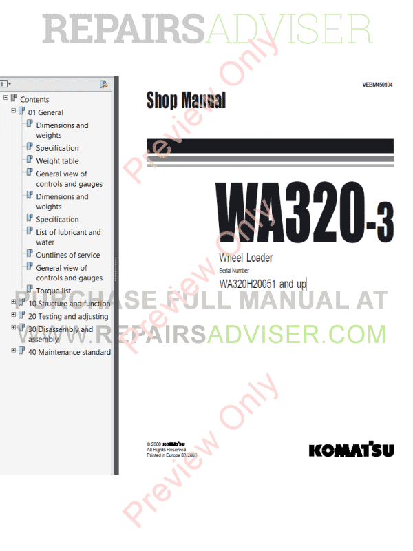 Komatsu WA320-3 Wheel Loader Shop Manual PDF Download