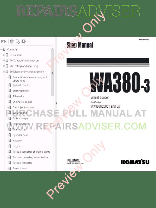 Komatsu WA380-3/WA380-5H/WA380-6/WA380-6H Wheel Loaders