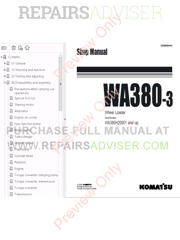 Komatsu WA380-3/WA380-5H/WA380-6/WA380-6H Wheel Loaders Shop Manuals PDF Download