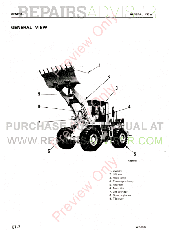 Komatsu WA400-1 Wheel Loader Shop Manual PDF Download
