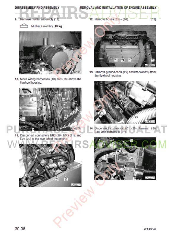 Komatsu WA430-6 Wheel Loader Shop Manual PDF Download