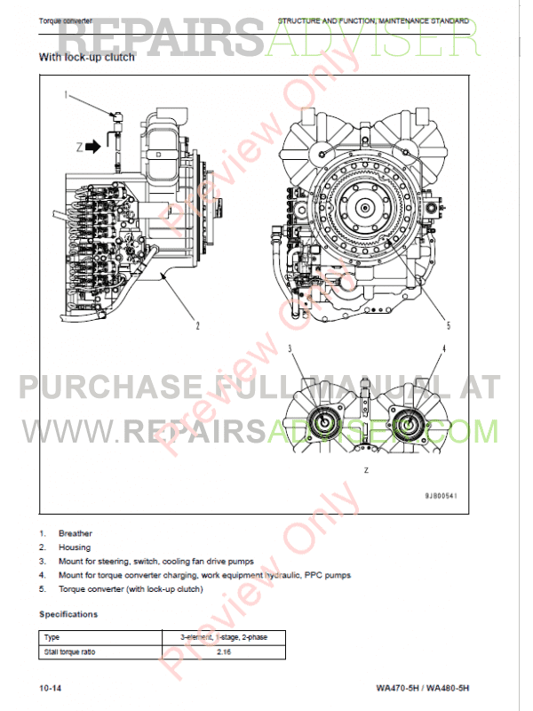Komatsu WA470-5H, WA480-5H Wheel Loaders Parts I-II Shop