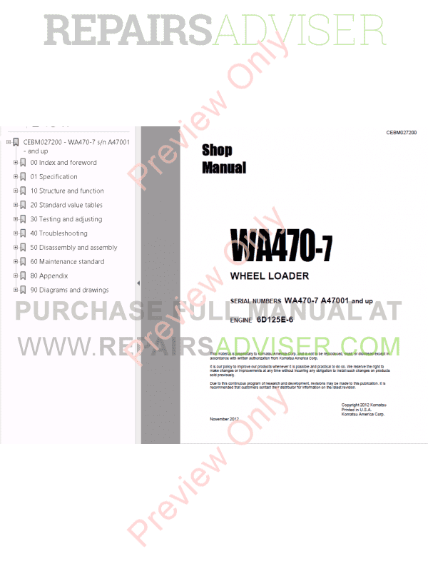 Komatsu WA470-7 Wheel Loader Shop Manuals PDF Download