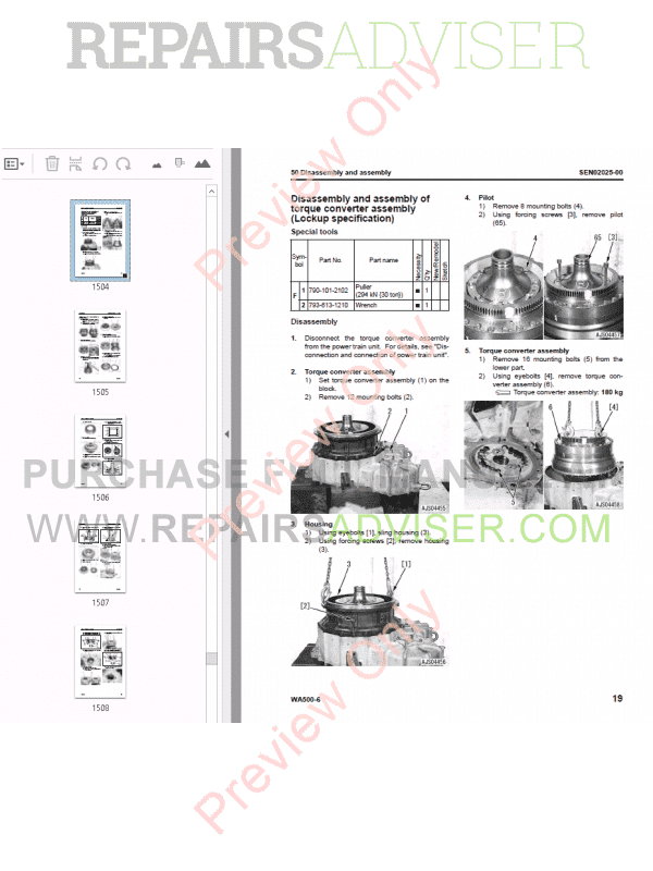 Komatsu WA500-6 Galeo Wheel Loader Shop Manual PDF Download