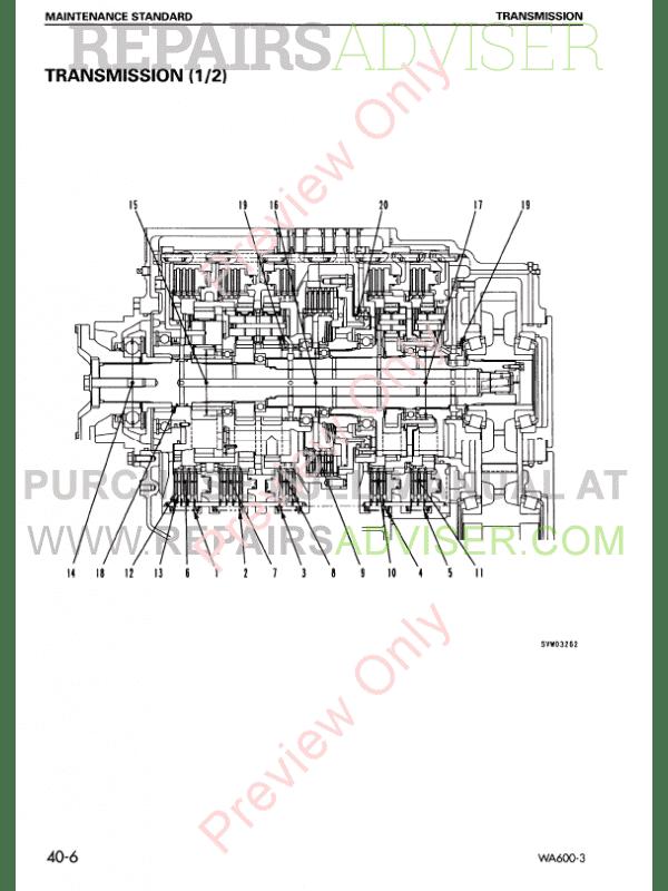 Komatsu WA600-3 Avance Loader Shop Manual PDF Download