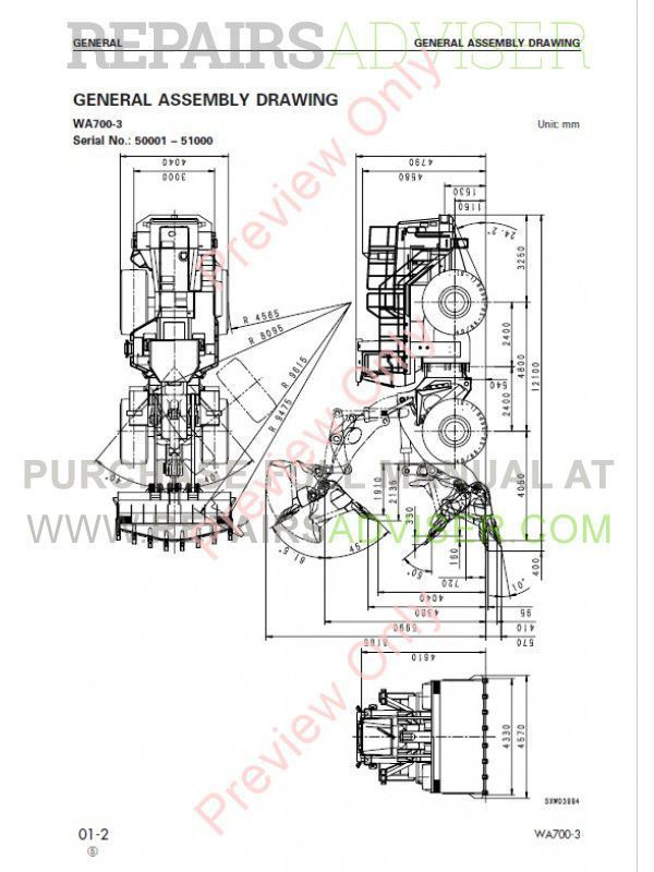 Komatsu WA700-3 Wheel Loader Shop Manual PDF SEBM013309 Download