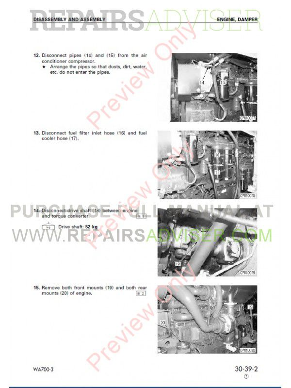 Komatsu WA700-3 Wheel Loader Shop Manual PDF SEBM013309
